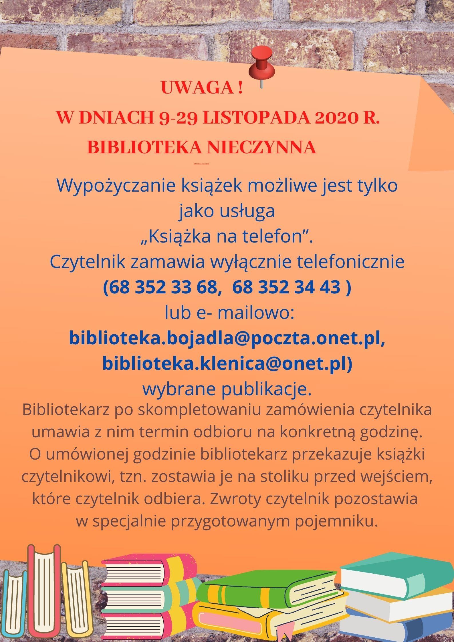 Ilustracja do informacji: Komunikat o dostępności biblioteki
