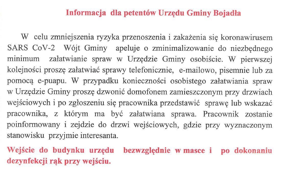 Ilustracja do informacji: Informacja dla petentów Urzędu Gminy Bojadła